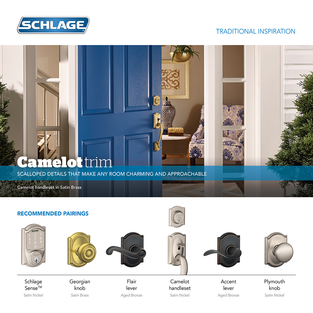 Schlage Lock Company F59ACC622CAMRH Accent Right Handed Interior Pack Lever Set with Single C Matte Black