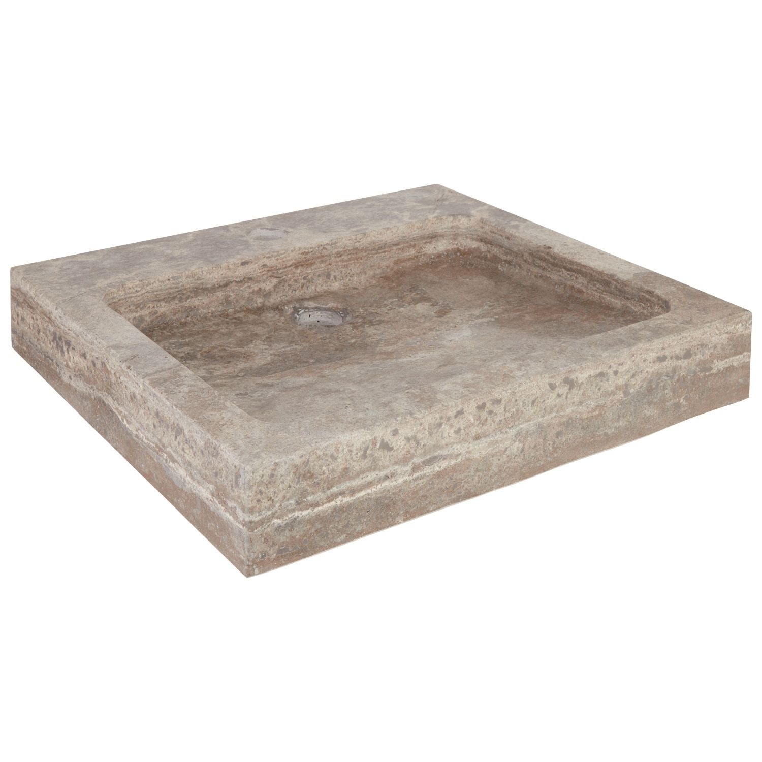 "thumbnail 19 - Signature Hardware 231915 20"" Square Polished Travertine Vessel"