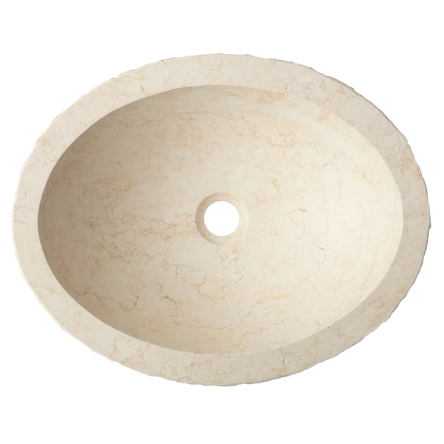 "thumbnail 6 - Signature Hardware 271387 18"" Oval Chiseled Marble Vessel Sink"