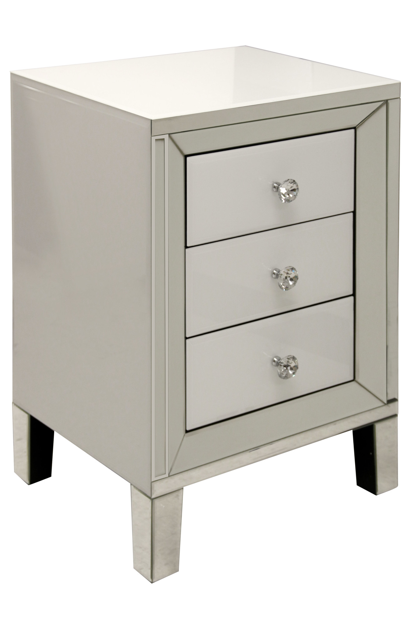 Details About Stylecraft Sc Sf24442 20 W Three Drawer Glass And Wood Nightstand White
