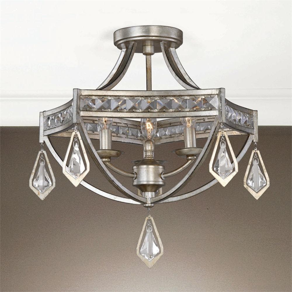 Uttermost 22275 Silver Tamworth 3-Light Indoor Semi-Flush ...