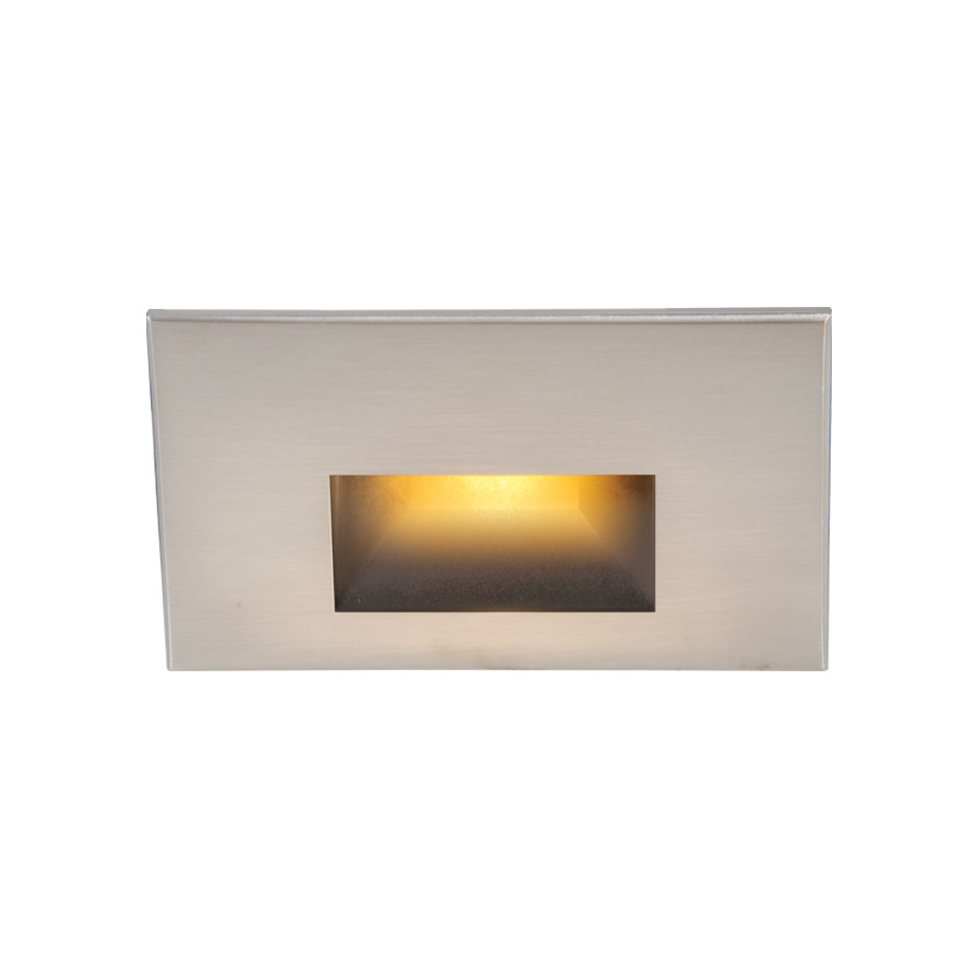 Stainless Steel Finish WAC Lighting WL-LED200-AM-SS Rectangular Scoop 4W 120V LED Step//Wall Light with Amber Lens