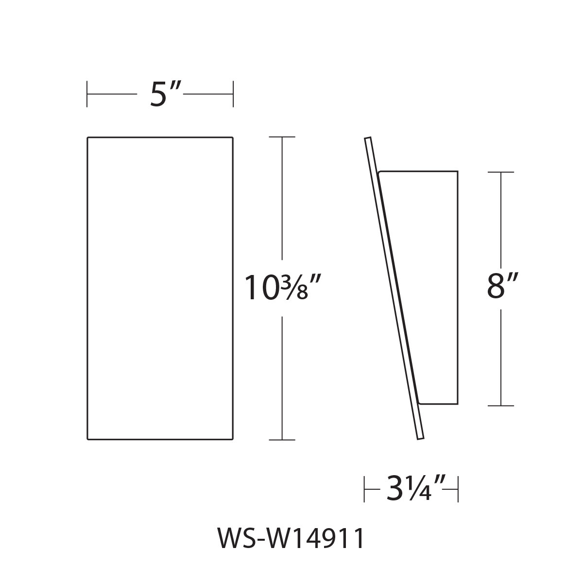 "WAC Lighting WS-W14911 Black Slant 11""H Led Outdoor Wall"