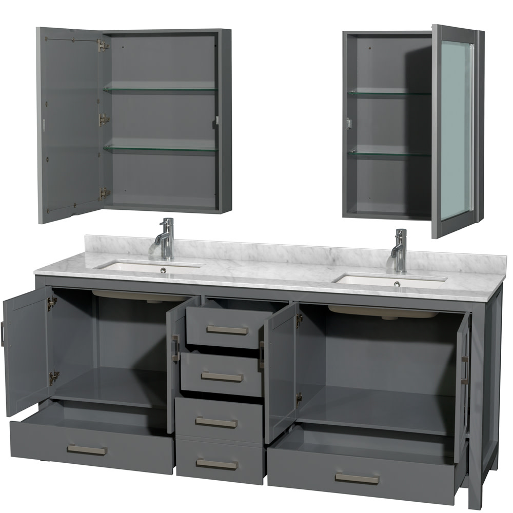 Wyndham-Collection-WCS141480DUNSMED-Sheffield-80-034-Freestanding-Vanity-Set-with thumbnail 2