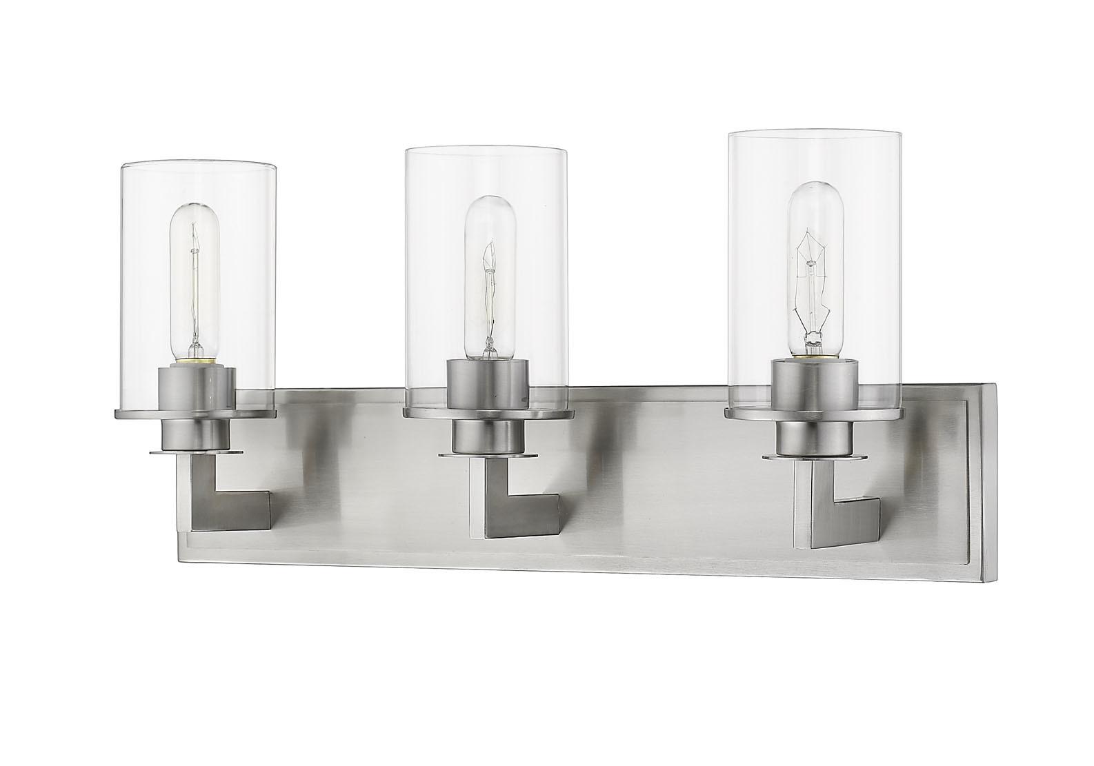"Clear Cloche Glass Bath Light 3 Light: Z-Lite 462-3V Nickel Savannah 3 Light 23"" Wide Vanity"