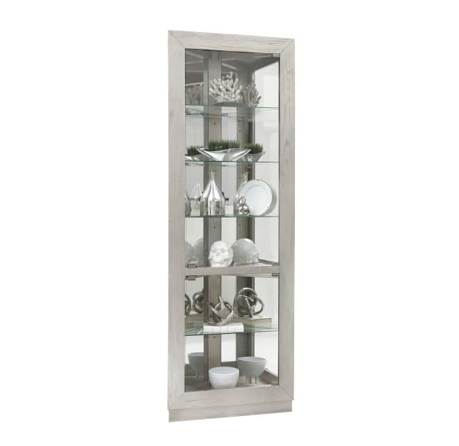 Delacora P021671 Medina Asymmetrical 80, White Corner Curio Cabinet With Glass Doors