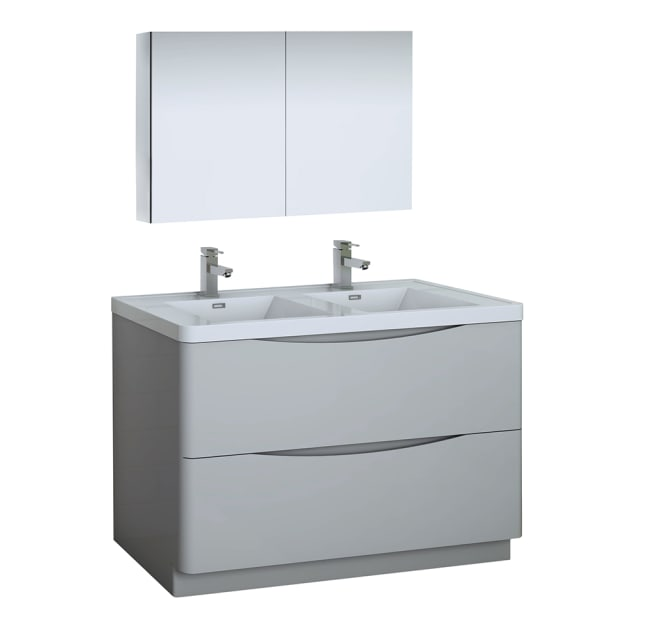 Fresca Fvn9148grg D Tuscany 48 Free, Single Basin Double Faucet Bathroom Sink