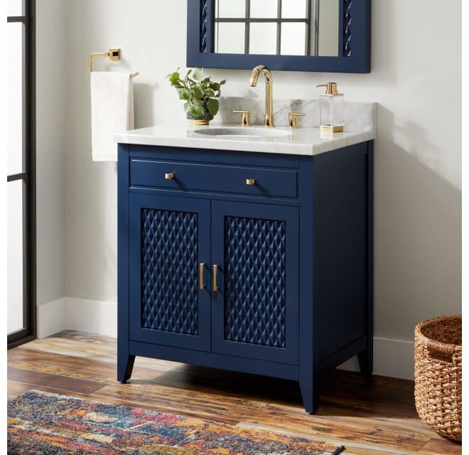 Signature Hardware 442573 Thorton 30, Blue Bathroom Vanity Cabinet