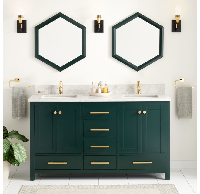 Signature Hardware 448980 Radke 60, Green Bathroom Cabinet