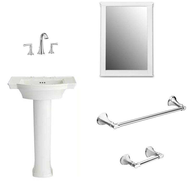 Estate Powder Room-A In White/Polished Chrome