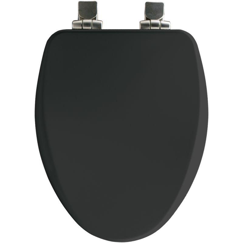 Bemis 19170NISL 047 Black Elongated Close Front Toilet Seat With Brushed Nick