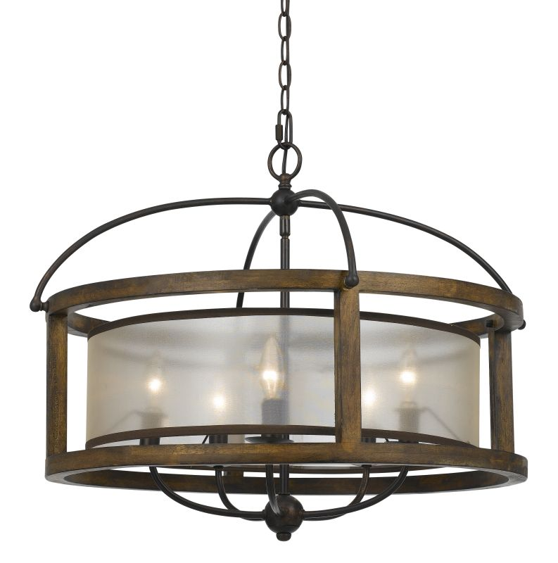 Cal Lighting FX-3536/5 Wood Mission 5 Light Pendant With