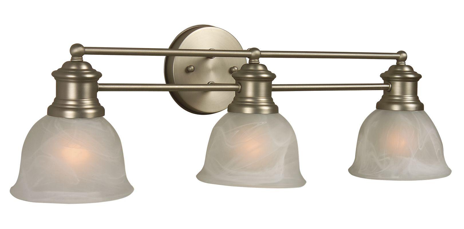"New 3 Light Bathroom Vanity Lighting Fixture Brushed: Craftmade 19822BN3 Brushed Nickel Lite Rail 22"" Wide 3"