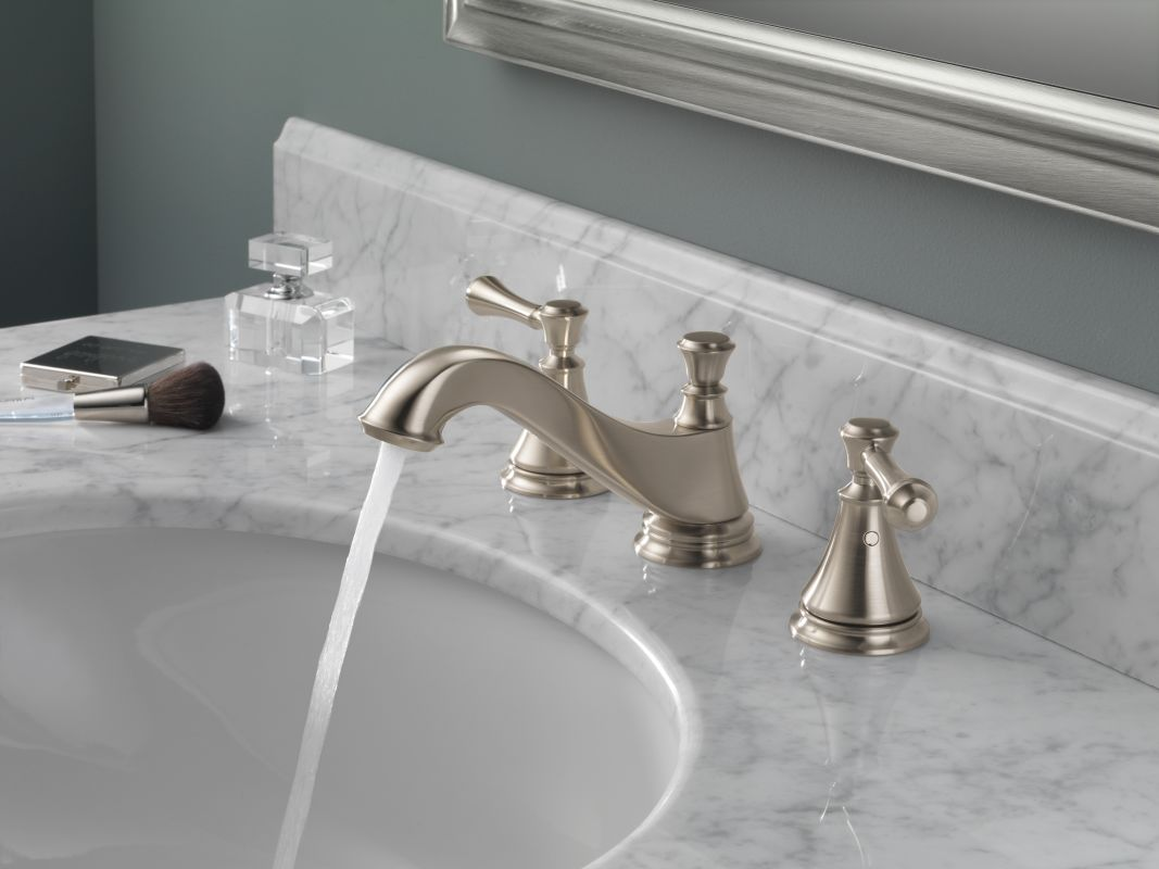 delta 3595lf mpu lhp chrome cassidy widespread bathroom faucet with