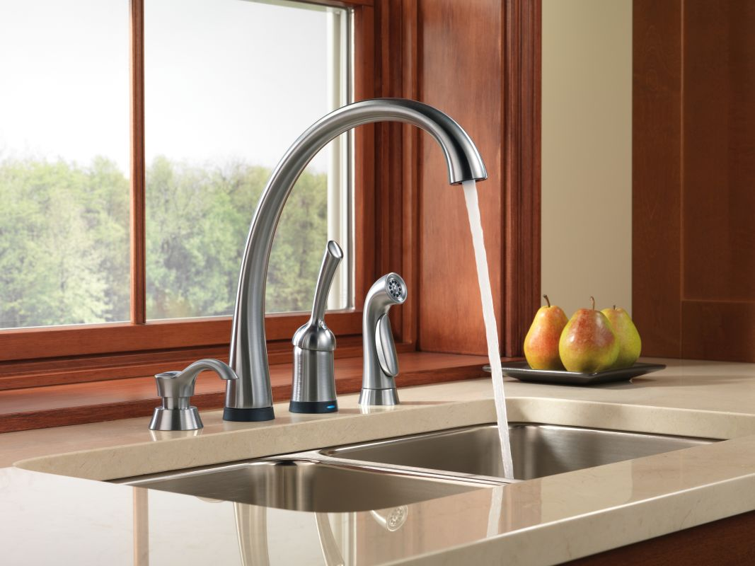 Delta Touch2o Kitchen Faucet Faucetcom 4380t Ar Dst In Arctic Stainless By Delta