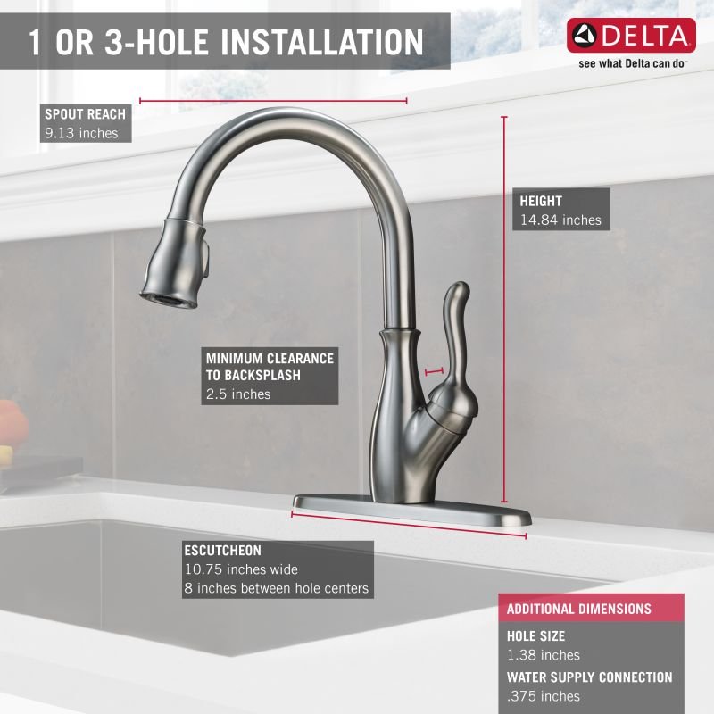 faucet com 9178 dst in chrome by delta delta single handle kitchen faucet installation lucas ulm
