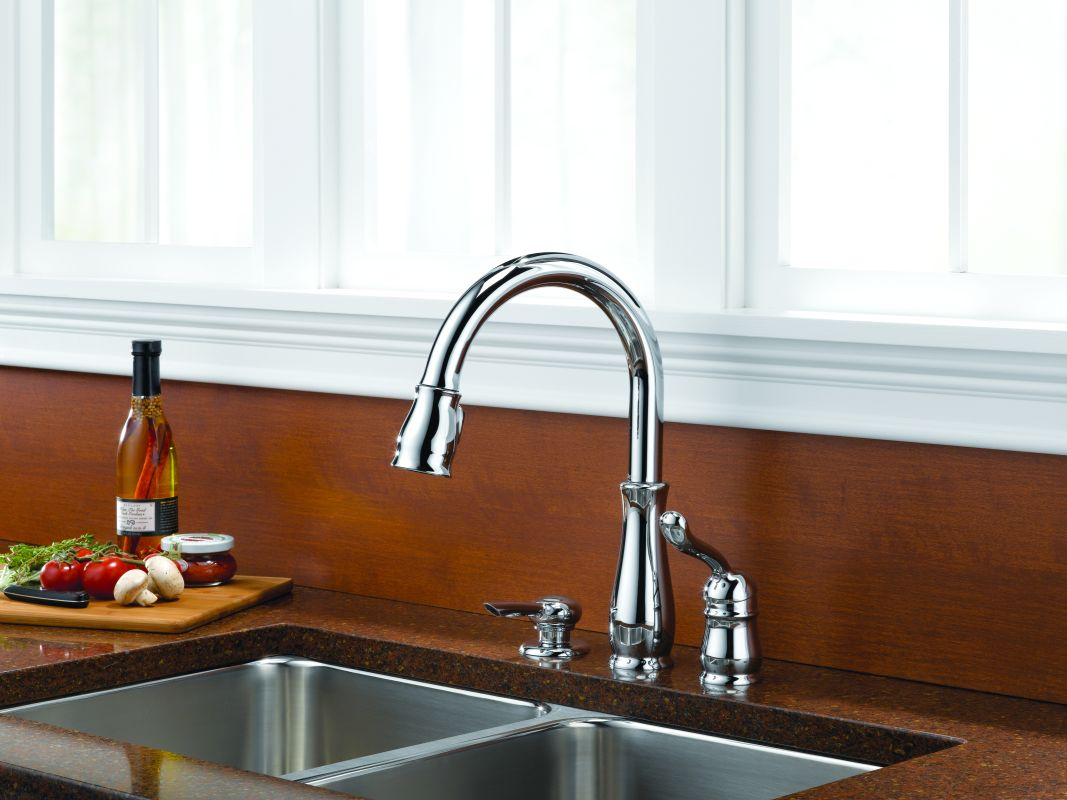 Leland Delta Kitchen Faucet Faucetcom 978 We Dst Sd In Chrome By Delta