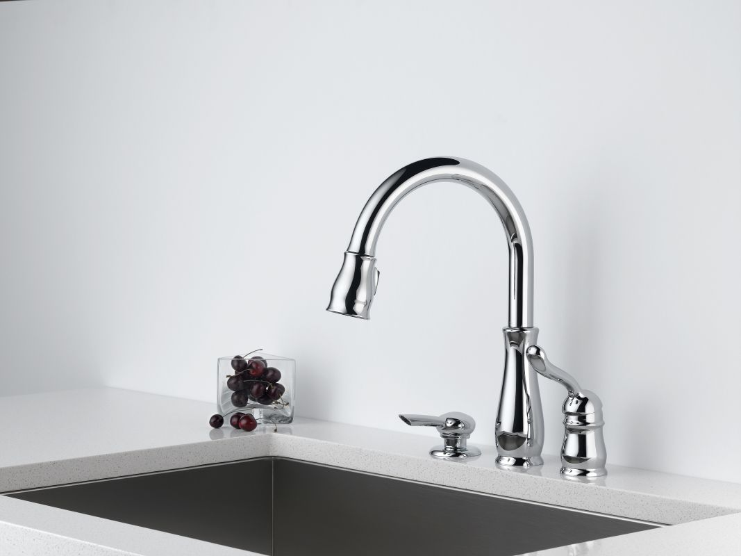 Leland Delta Kitchen Faucet Faucetcom 978 Sd Dst In Chrome By Delta
