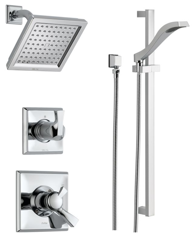 Delta dss dryden 1701 chrome monitor 17 series dual function pressure balanced shower system for Delta bathroom shower systems