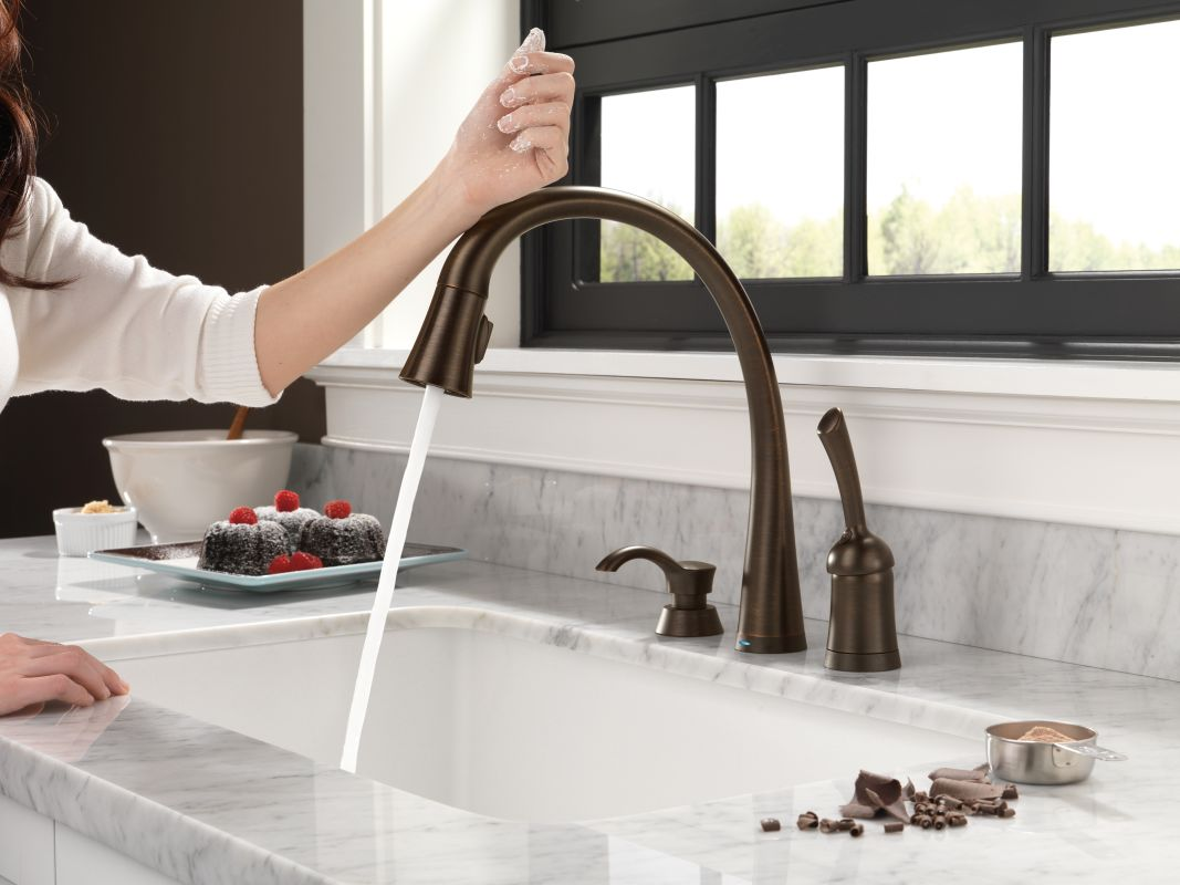 Delta Kitchen Faucet Bronze Faucet  Rp50781Cz In Champagne Bronzedelta