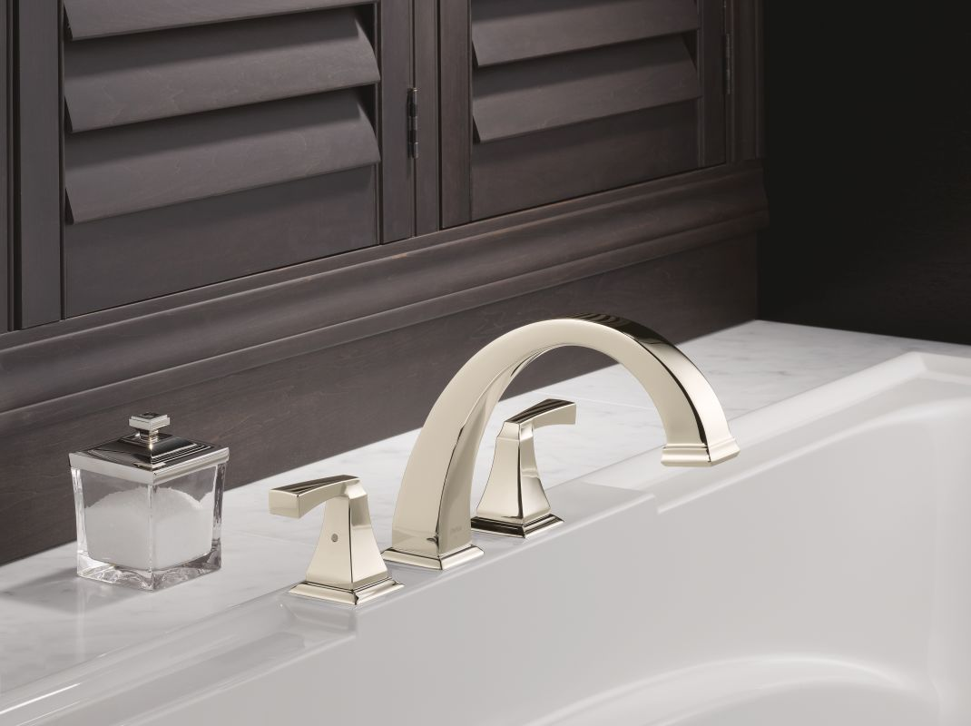 nickel dryden deck mounted roman tub faucet trim with lever handles