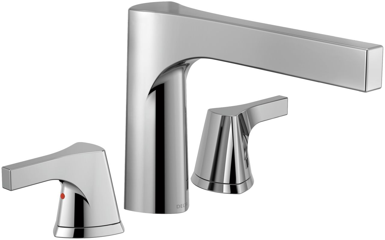Three Hole Kitchen Faucets Faucet Com T2774 In Chrome By Delta