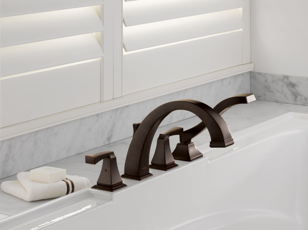 tub faucet trim with lever handles includes personal hand shower
