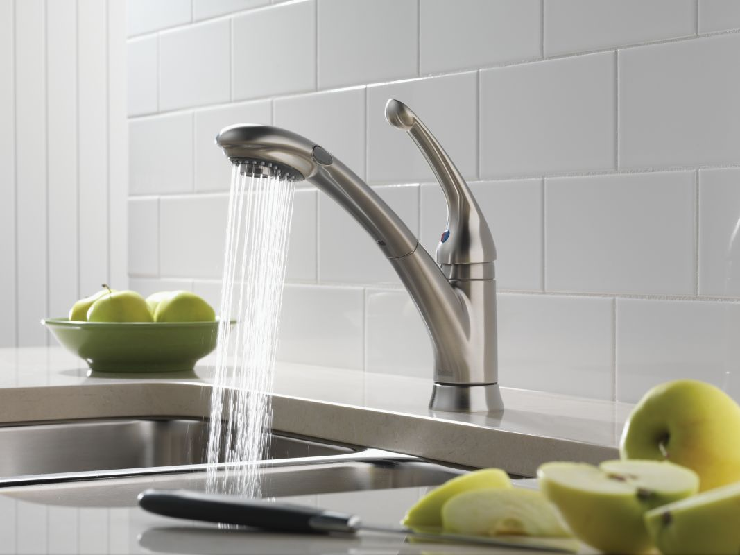 Delta Pull Out Kitchen Faucets faucet | 470-ar-dst-sd in arctic stainlessdelta