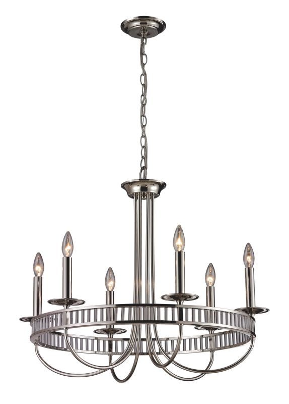 elk lighting 10231  6 polished chrome 6 light chandelier