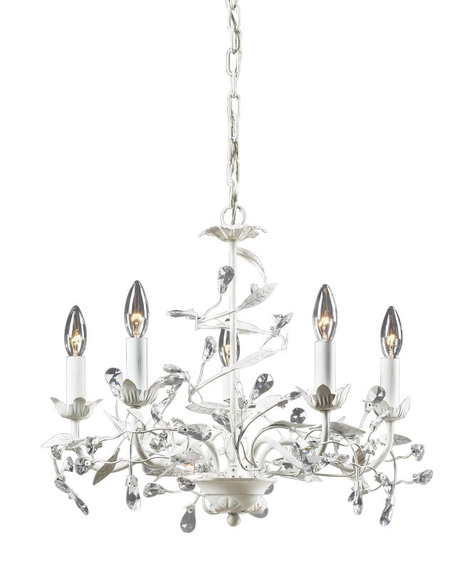 elk lighting 18113  5 antique white 5 light chandelier from the circeo collection