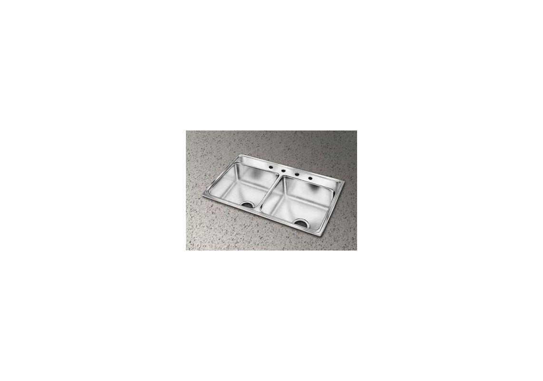 Elkay Lr37220 No Faucet Holes Gourmet 37 Quot Double Basin