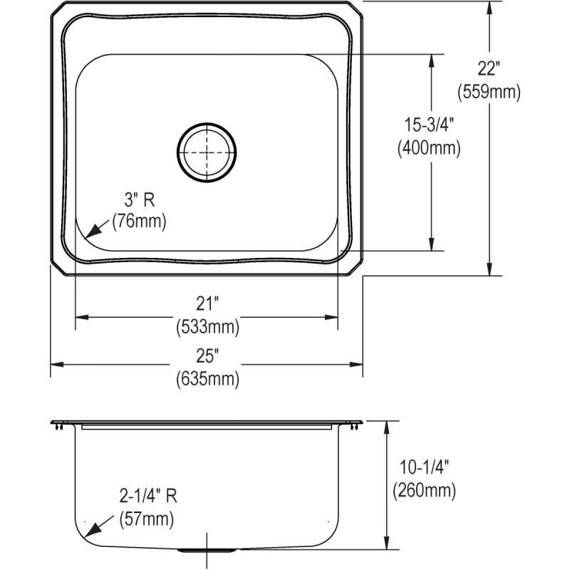 Elkay  Gauge Single Basin Drop In Stainless Steel Kitchen Sink