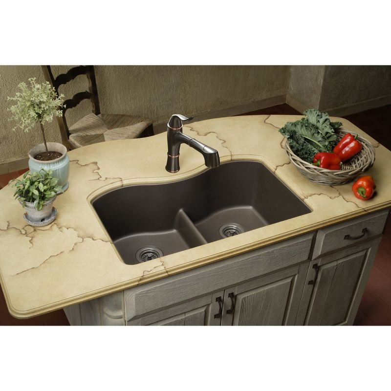 lowes composite granite kitchen sinks faucet elgulb3322bq0 in bisque by elkay 9073