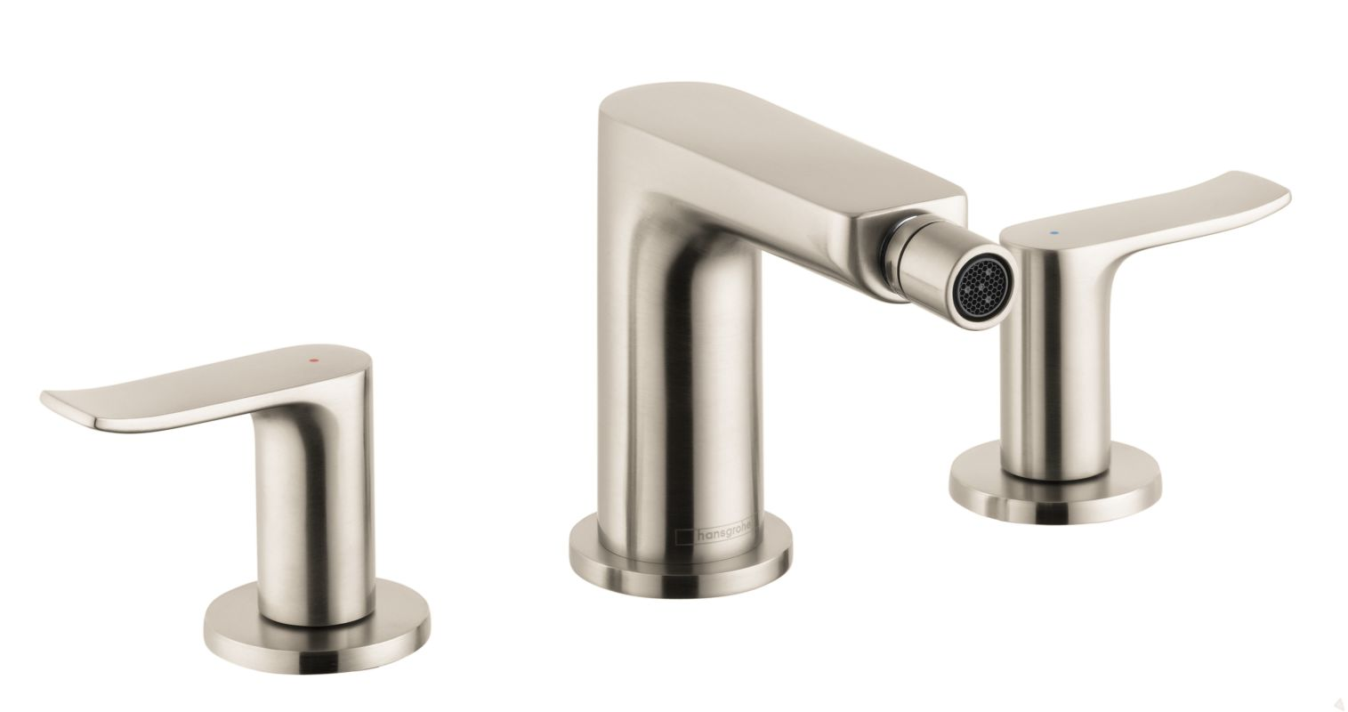 Hansgrohe 31283821 brushed nickel metris widespread bidet faucet with pop up drain assembly - Hansgrohe pop up drain ...