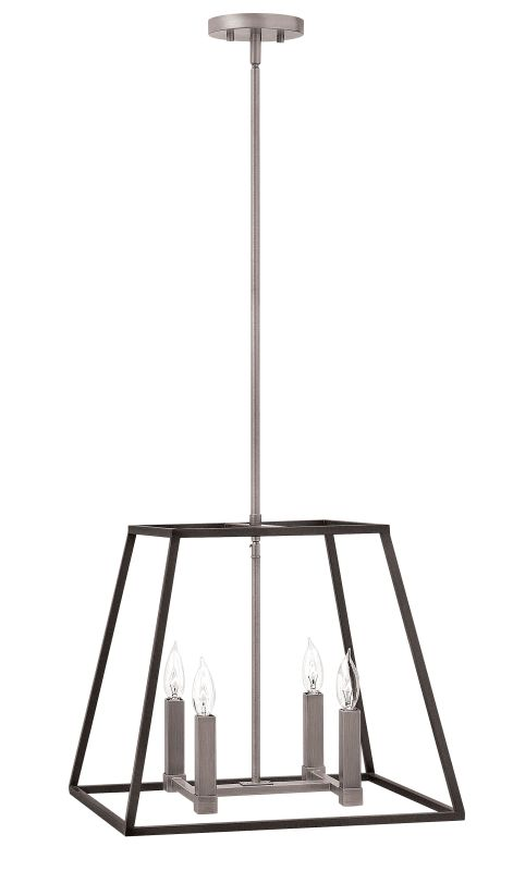 hinkley lighting 3334dz aged zinc 4 light pendant from the fulton collection