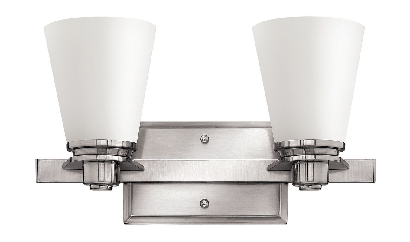 Hinkley lighting 5552bn gu24 brushed nickel 2 light title for Hinkley bathroom vanity lighting