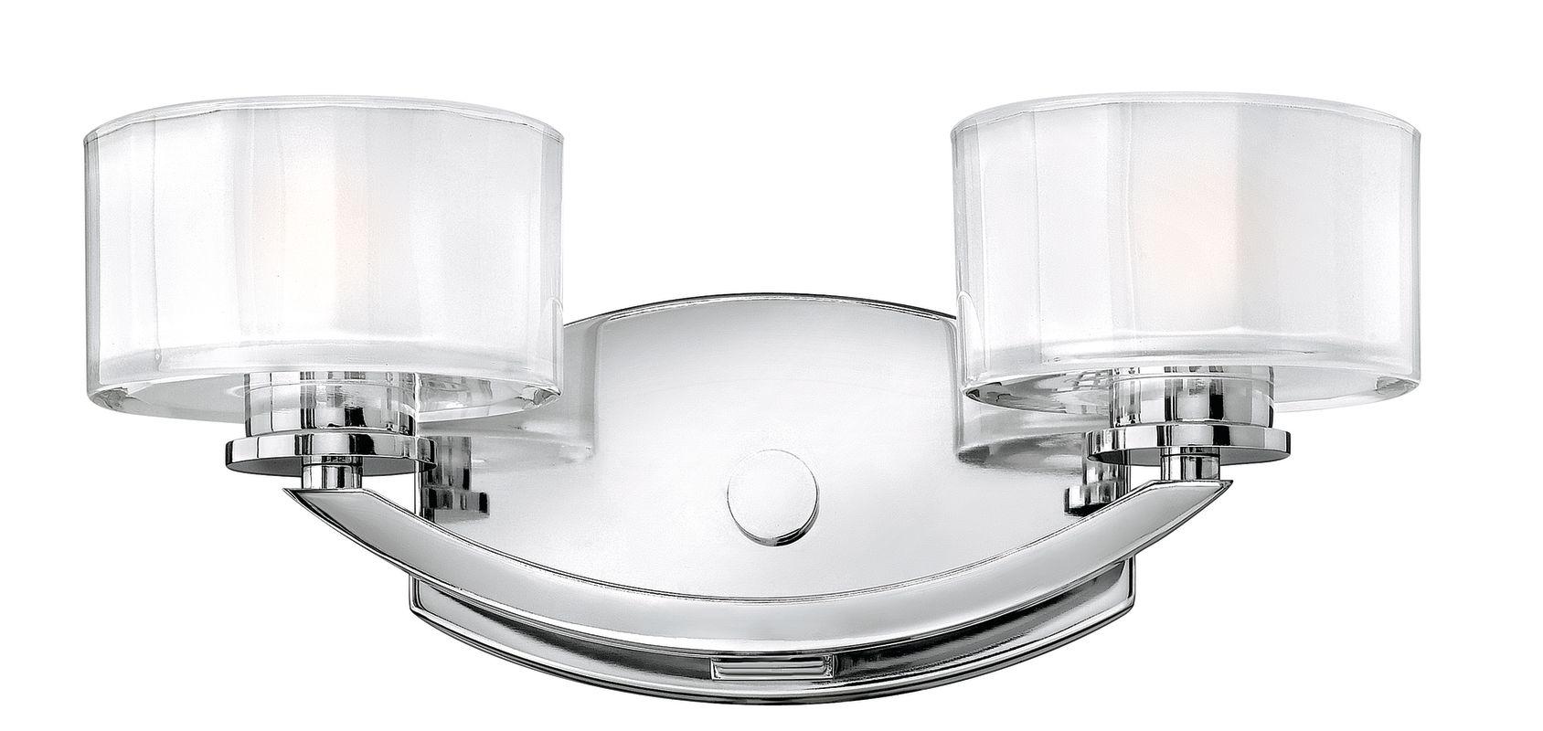 Hinkley lighting 5592cm chrome 2 light 14 width bathroom for Hinkley bathroom sconces