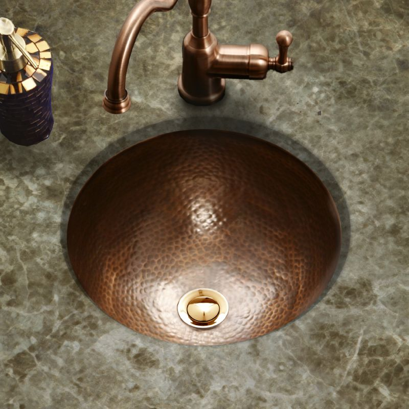 hammered copper bathroom sink faucet hw cla1rf in antique copper by houzer 18644