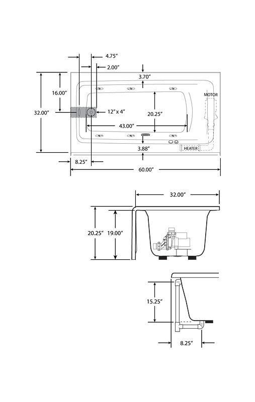 Corner Whirlpool Tub Dimensions. Bathtub Dimensions  Faucet com J1S6032WLR1XXW in White by Jacuzzi