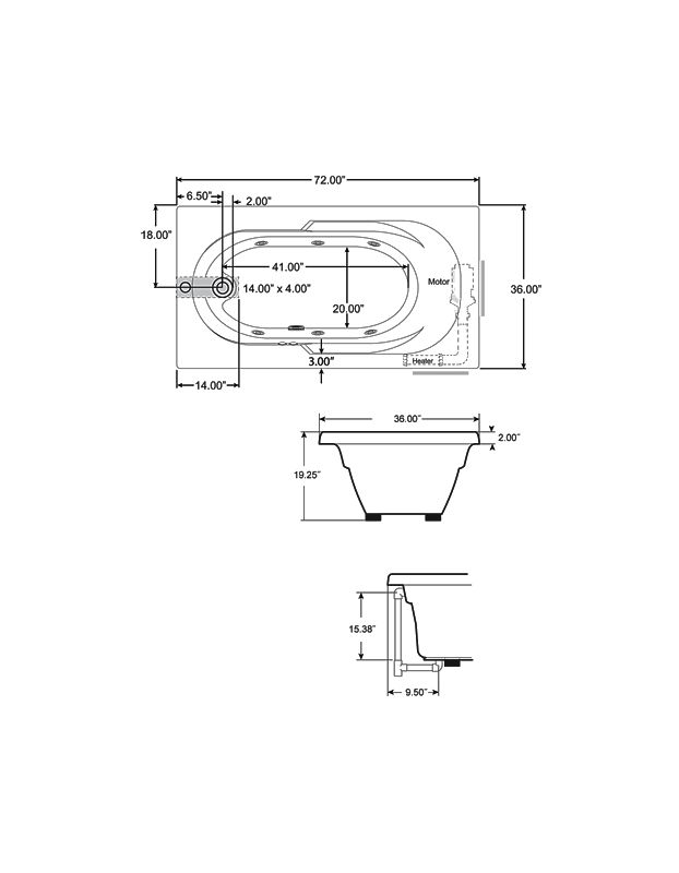 Corner Whirlpool Tub Dimensions. Bathtub Dimensions  Faucet com J2D7236WLR1XXW in White by Jacuzzi