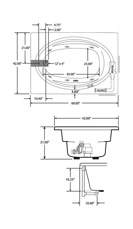 Corner Whirlpool Tub Dimensions. Bathtub Dimensions  Faucet com J4D6042WLR1XXW in White by Jacuzzi