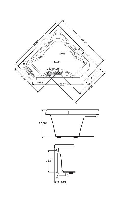 corner whirlpool tub dimensions. Bathtub Dimensions  Faucet com J5D6060WCR1XXW in White by Jacuzzi