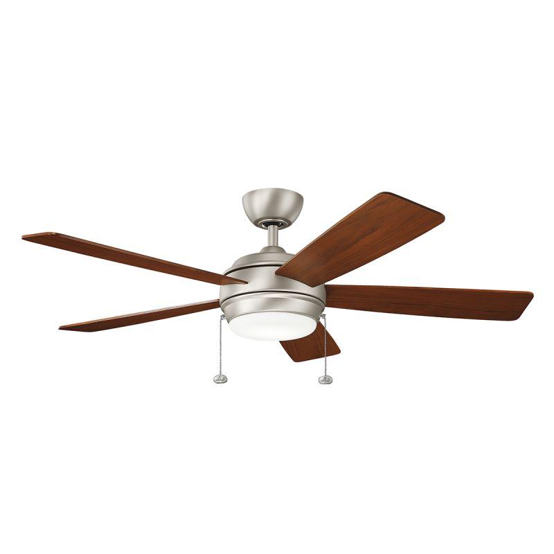 """Ceiling Fans Kichler: Kichler 330174NI Brushed Nickel 52"""" Indoor LED Ceiling Fan"""