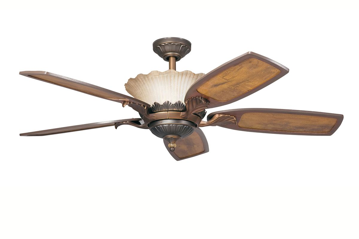 """... Bronze 52"""" Indoor Ceiling Fan with Blades, Downrod and Remote Control"""