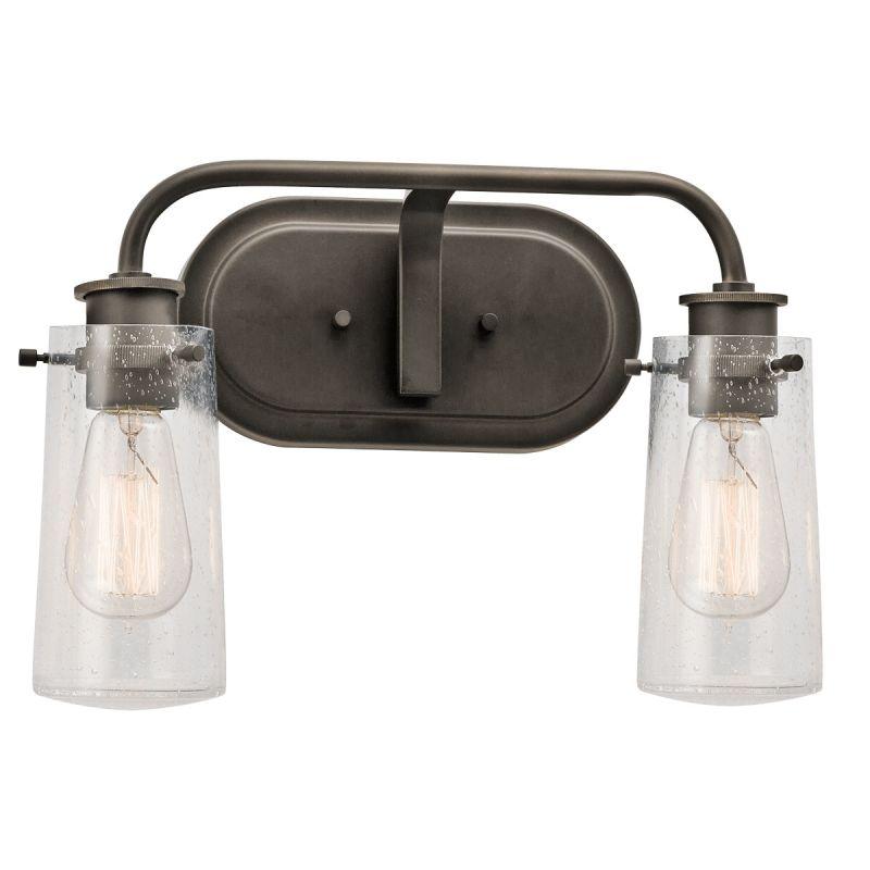 Vanity Light Fixture Glass Shade : Kichler 45458OZ Olde Bronze Braelyn 2 Light 15
