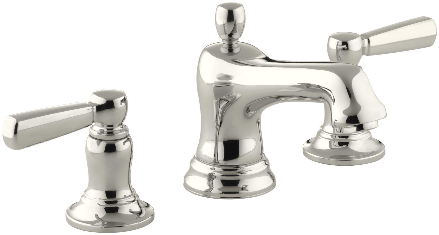 Widespread Bathroom Sink Faucets: Kohler K-10577-4-SN Polished Nickel Bancroft Widespread