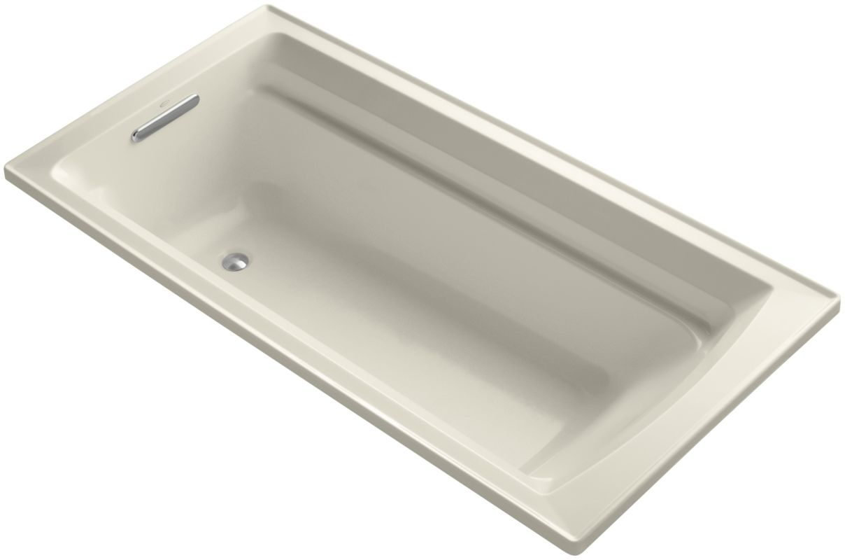 Kohler K 1125 47 Almond Archer Collection 72 Drop In Soaker Bath Tub With Slotted Overflow