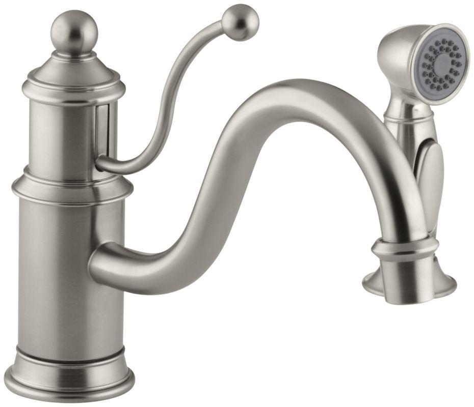 Kohler Kitchen Faucets Parts Single Handle Kitchen Faucet: Kohler K-169-BN Brushed Nickel Single Handle Kitchen