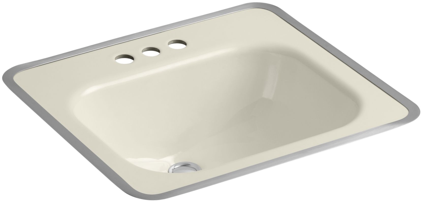 Kohler K 2890 4 47 Almond Tahoe 16 Cast Iron Drop In Bathroom Sink With 3 Holes Drilled And