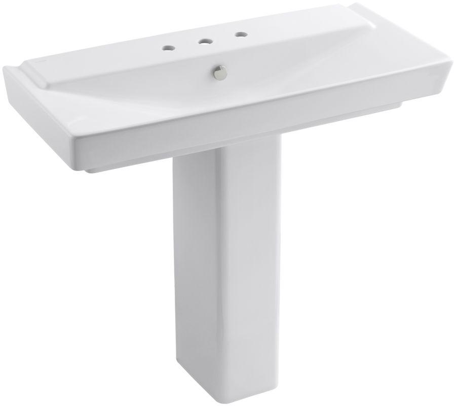 Wide Base Pedestal Sink : Kohler K-5149-8-0 White Reve 39-3/8
